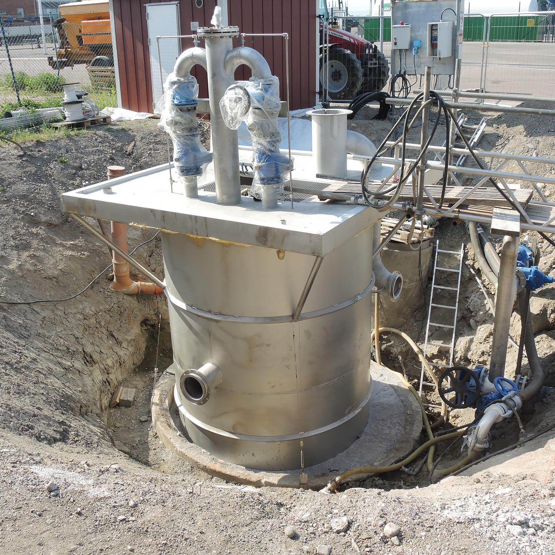 Skadad betongsump